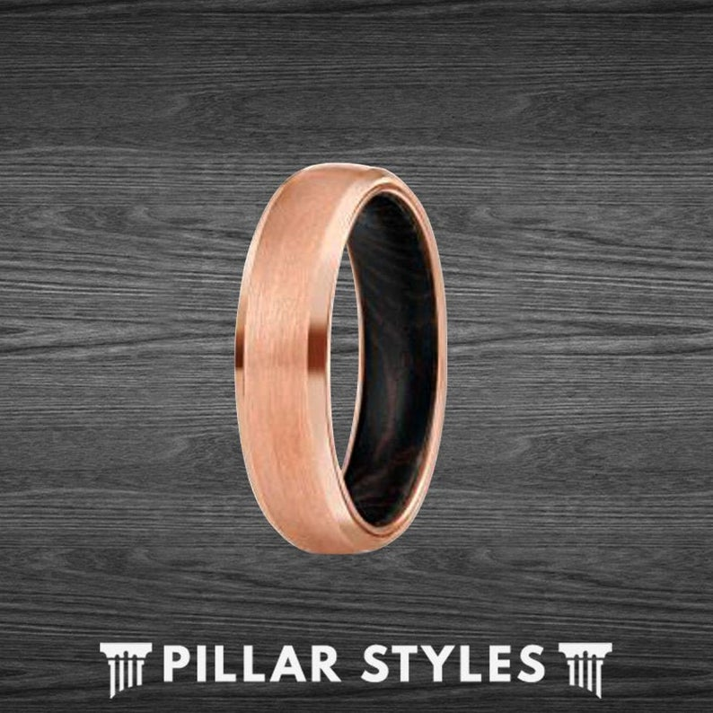 6mm Wenge Wood Ring - 18K Rose Gold Wedding Bands Mens Tungsten Ring - Pillar Styles
