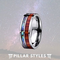 8mm Koa Wood Tungsten Ring With Abalone Shell - Pillar Styles