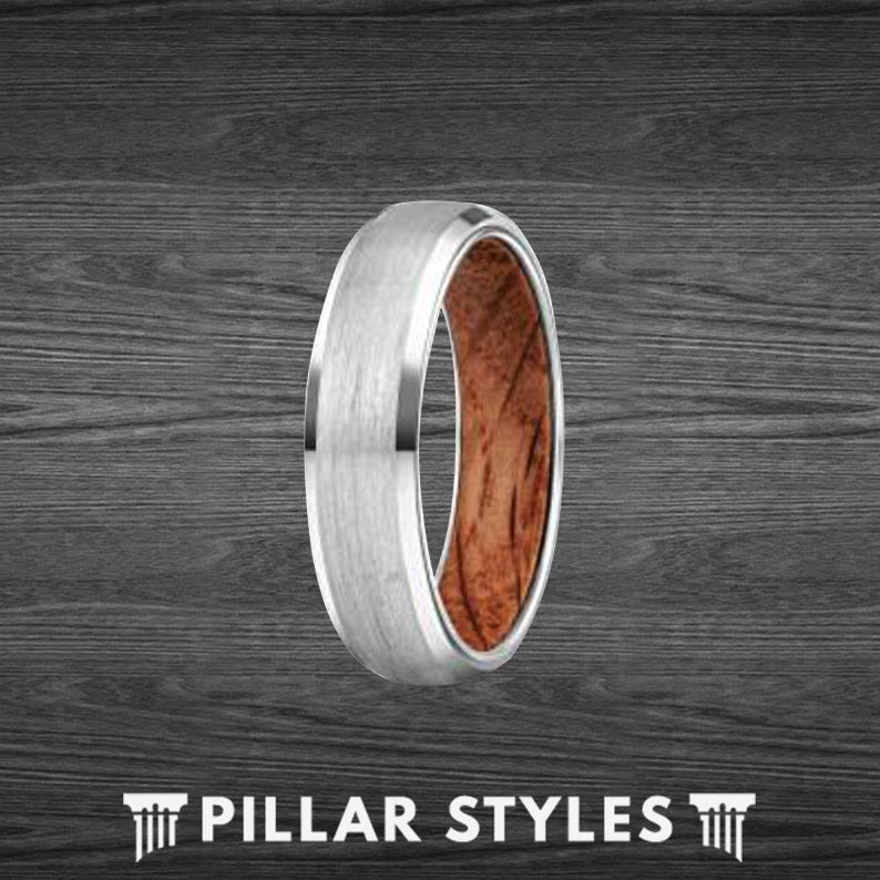 Thin Silver Whiskey Barrel Ring Wood Wedding Band Mens Ring - Pillar Styles