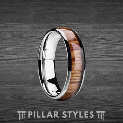 6mm Exotic Koa Wood Ring Mens Wedding Band - Pillar Styles