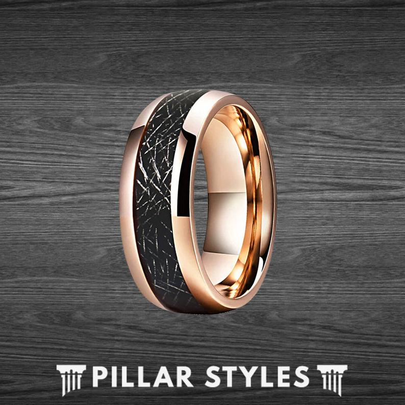18K Rose Gold Meteorite Ring Mens Wedding Band Tungsten Ring - Unique Rose Gold Ring - Pillar Styles
