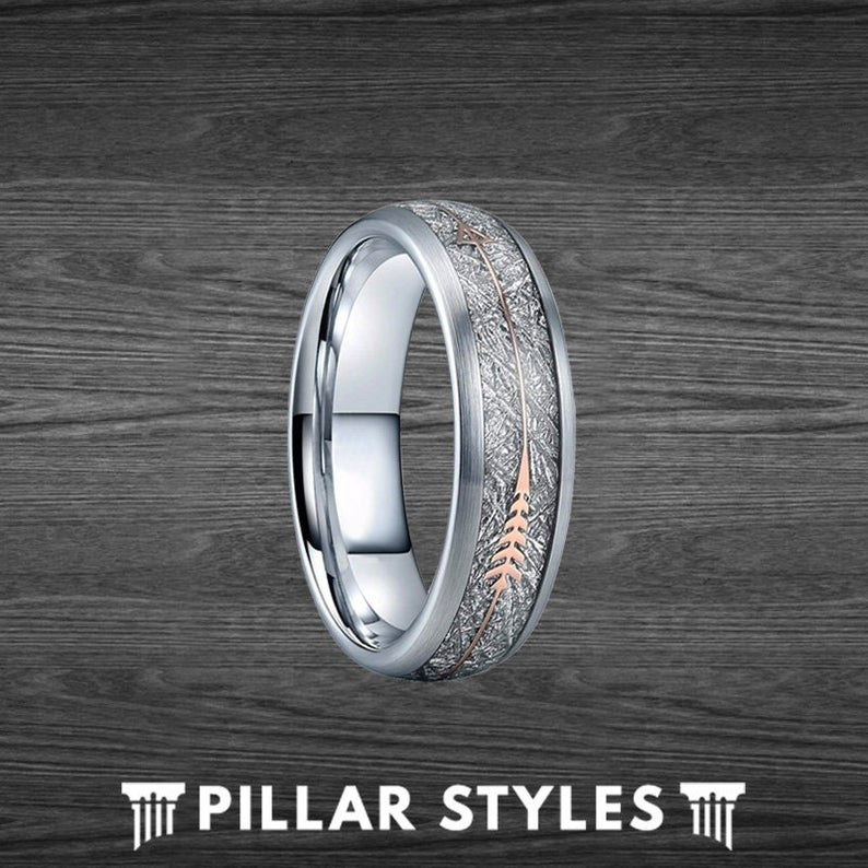 Arrow Meteorite Ring 6mm & 8mm Womens Wedding Band Tungsten Ring