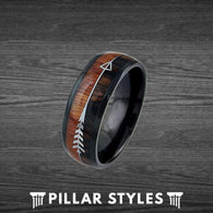Exotic Black Tungsten Koa Wood Ring Mens Wedding Band - Pillar Styles