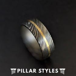 14K Gold Damascus Steel Ring Mens Wedding Band