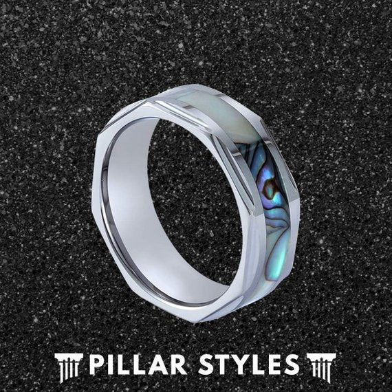 8mm Abalone Shell Tungsten Wedding Band - Pillar Styles