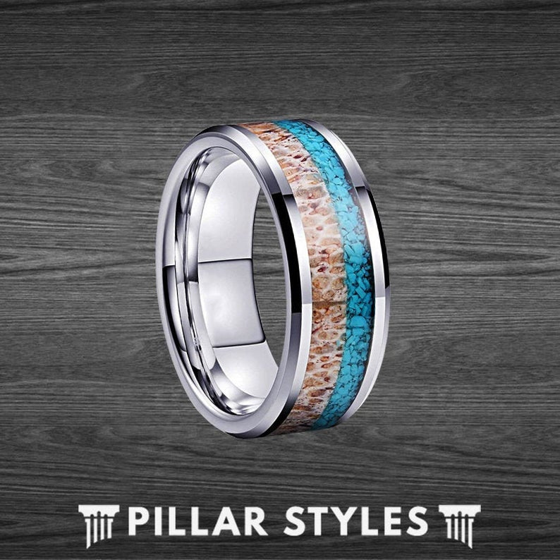 Mens Turquoise Ring with Antler Inlay, 8mm Mens Wedding Band Tungsten Ring - Pillar Styles