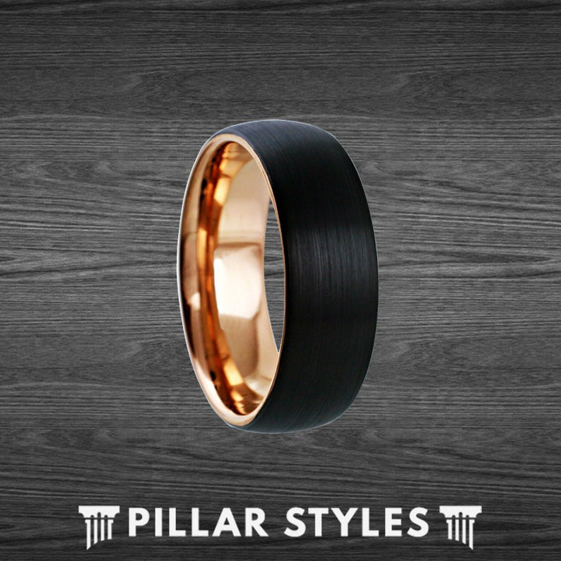 8mm/6mm Black & 18K Rose Gold Ring Mens Wedding Band Tungsten Ring - Pillar Styles