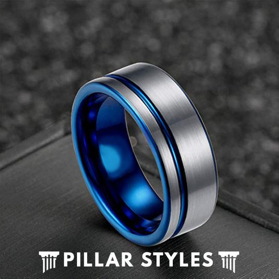 Silver Tungsten Wedding Band with Groove Blue Mens Wedding Band - Pillar Styles
