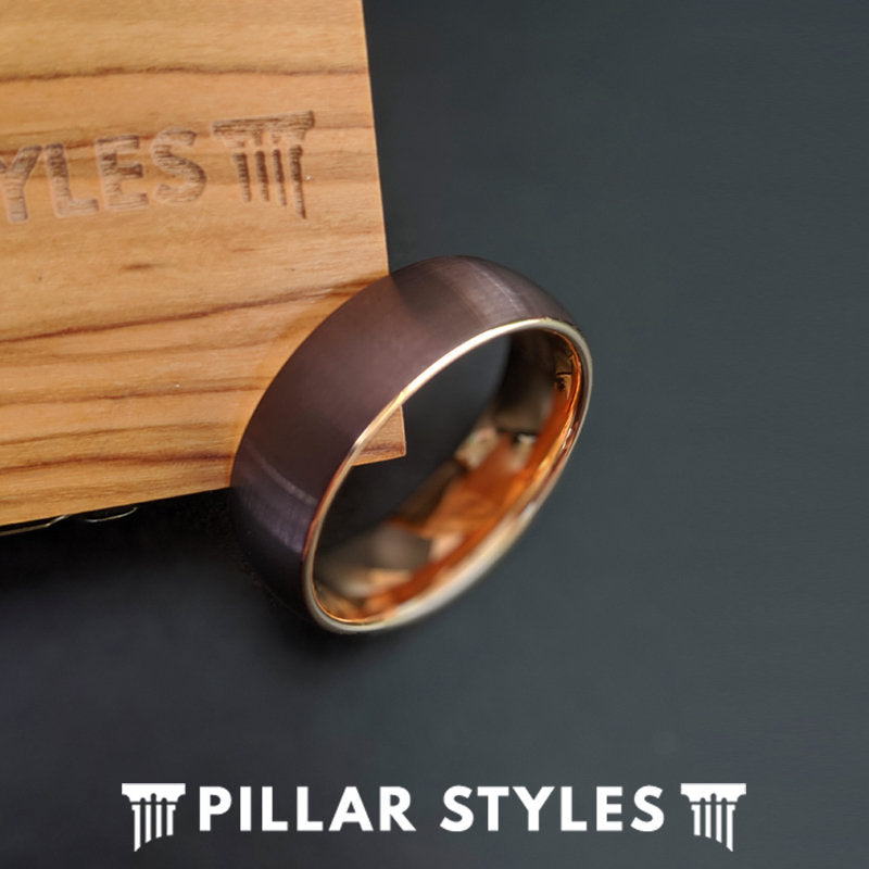18K Rose Gold Ring Mens Wedding Band with Brushed Cappuccino Finish - Brown Tungsten Ring - Pillar Styles