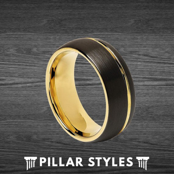 8mm 14K Yellow Gold Ring Tungsten Wedding Band - Pillar Styles