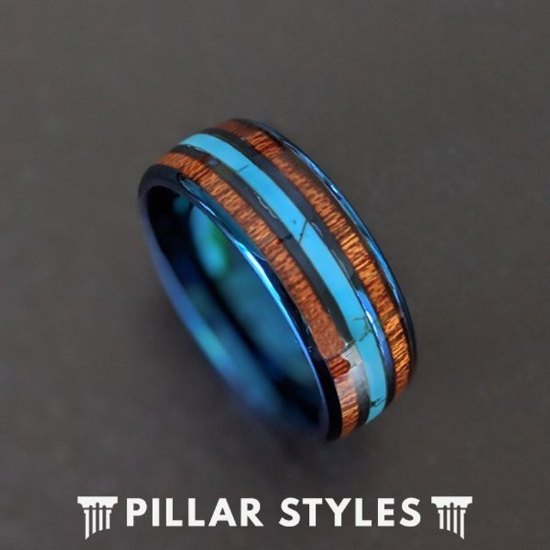 Blue Tungsten Wedding Band with Turquoise & Koa Wood Ring - Pillar Styles