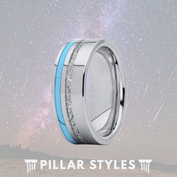 Silver Meteorite Ring with Turquoise Inlay - Pillar Styles