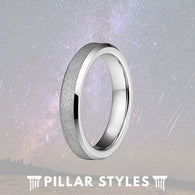 4mm Tungsten Thin Silver Sandblasted Womens Ring - Pillar Styles