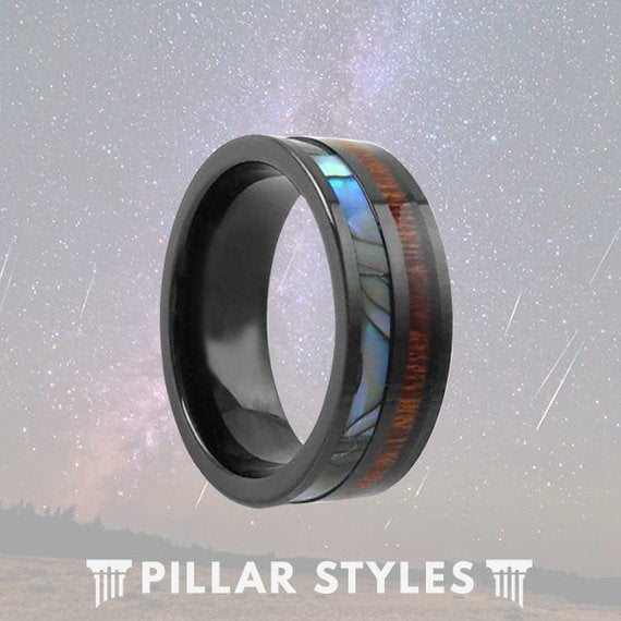 Black Tungsten Koa Wood and Abalone Shell Ring Inlay - Pillar Styles