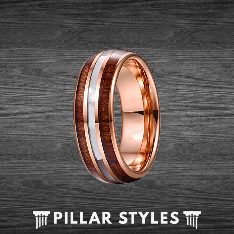 18K Rose Gold Ring Mens Wedding Band with Koa Wood and Opal Ring - Pillar Styles