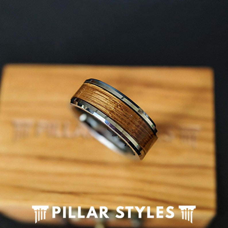 8mm Whiskey Barrel Ring Silver Mens Wedding Band Tungsten Ring Bourbon Wood Ring for Men