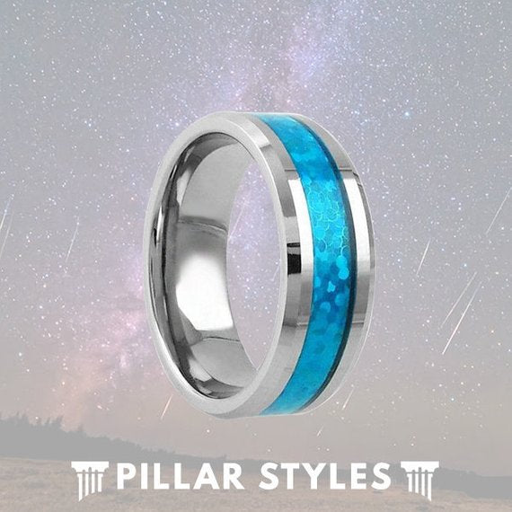 8mm Blue Opal Ring Tungsten Wedding Band - Pillar Styles
