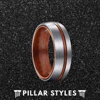 6mm/8mm Titanium Wedding Band Mens Ring with Koa Wood - Pillar Styles