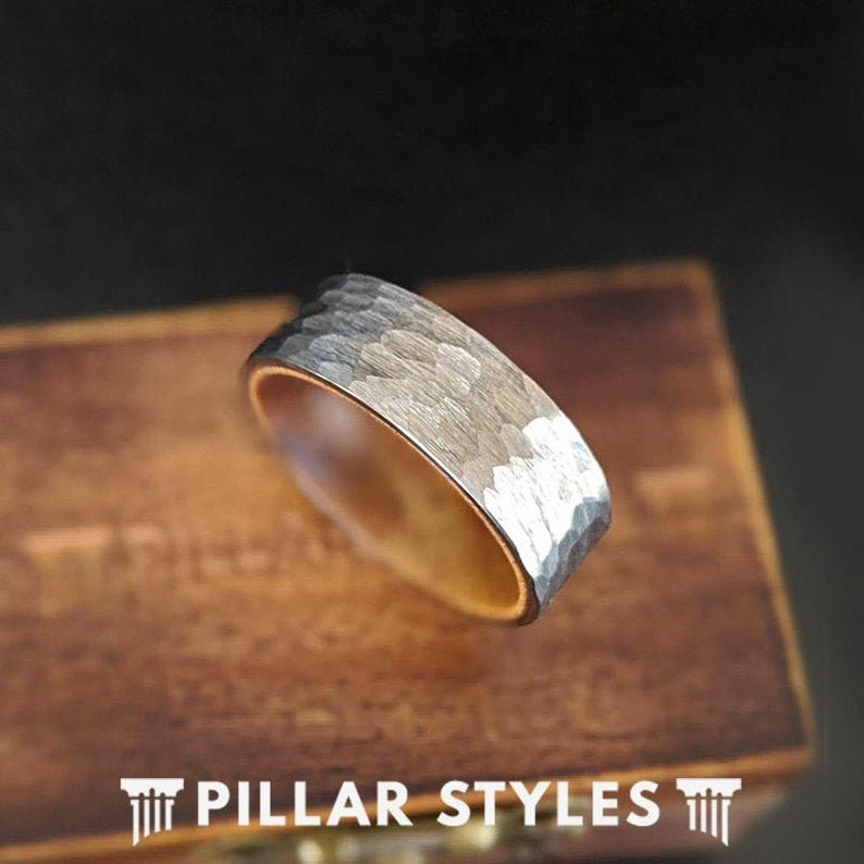 Hammered Wood Ring Mens Wedding Band Silver Tungsten Ring - 8mm Wood Wedding Rings for Men