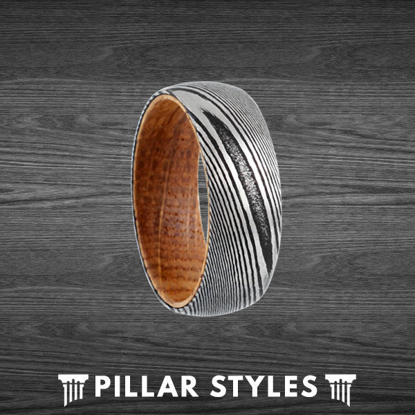 Damascus Steel Ring with Whiskey Barrel Wood Inner Sleeve - 8mm Whiskey Barrel Ring for Men - Pillar Styles