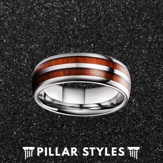 Dual Rose Wood Ring Tungsten Wedding Band Mens Ring - Pillar Styles