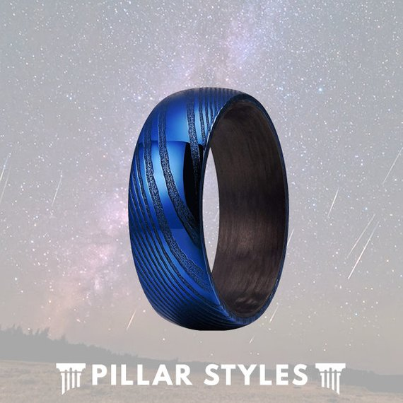 8mm Carbon Fiber Blue Damascus Steel Ring - Pillar Styles