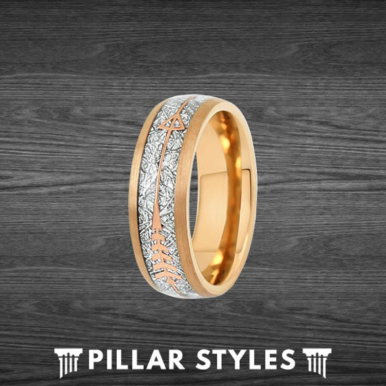 Meteorite Ring with Arrow Inlay Mens Wedding Band Rose Gold Ring - Pillar Styles