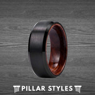 Black Tungsten Wedding Band Mens Ring with Koa Wood Sleeve - Wood Rings for Men - Pillar Styles