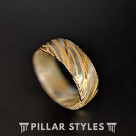 14K Gold Damascus Ring Mens Wedding Band - Damascus Steel Ring - Pillar Styles