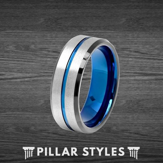 8mm Silver Tungsten Wedding Band With Blue Tungsten Inside - Pillar Styles