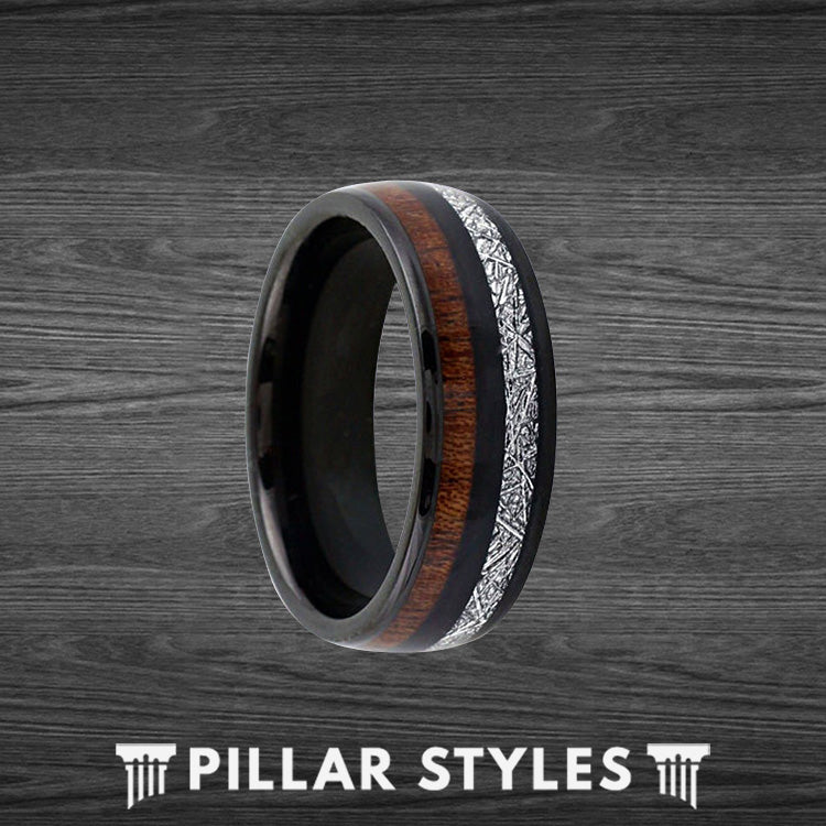 Black Tungsten Meteorite Ring Rare Koa Wood Ring - Pillar Styles
