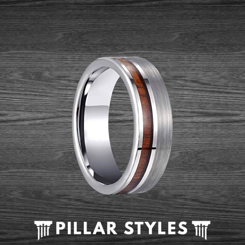 8mm Silver Tungsten Ring Mens Wedding Band Offset Koa Wood Inlay Mens Ring - Wooden Rings for Him