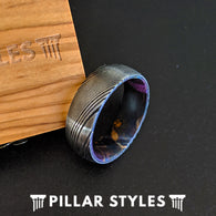 8mm Damascus Steel Ring with Box Elder Wood Inlay - Mens Damascus Ring - Pillar Styles