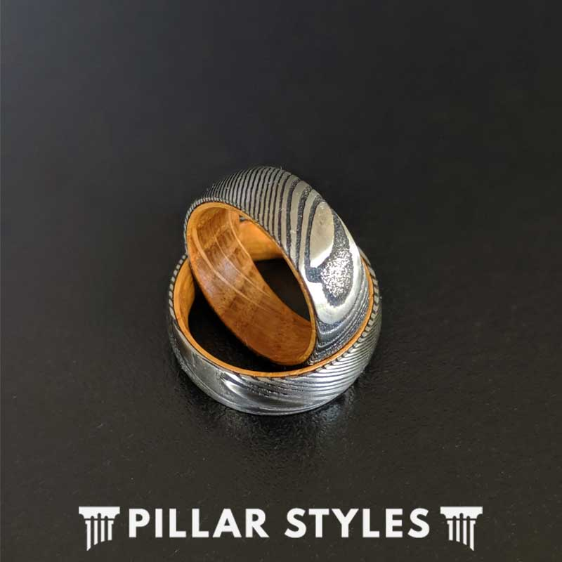 Damascus Ring with Whiskey Barrel Wood Inlay - Whiskey Barrel Rings for Men Damascus Steel Ring - Pillar Styles