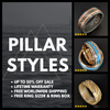Black Titanium Wedding Ring Olive Wood Ring - Unique Mens Wedding Band - Pillar Styles