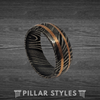 Damascus Steel Ring Mens Wedding Band with Copper Inlays - Pillar Styles