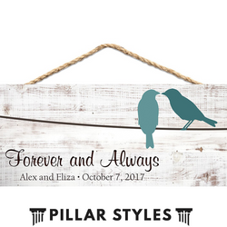Personalized Wooden Plaque for Love Birds - Pillar Styles