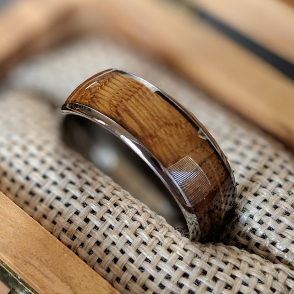 Silver Whiskey Barrel Ring - Mens Tungsten Ring Whiskey Wood Wedding Band Bourbon Barrel Ring - Pillar Styles