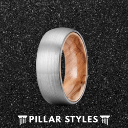 Silver Brushed Titanium Wedding Band With Premium Olive Wood Ring
