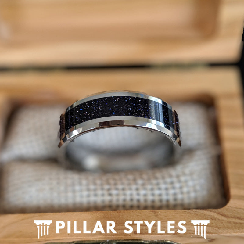 Purple Opal Ring Mens Wedding Band - Tungsten Goldstone Ring Unique Mens Opal Wedding Ring - Pillar Styles
