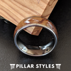 Silver Whiskey Barrel Ring - Mens Tungsten Ring Whiskey Wood Wedding Band - Pillar Styles