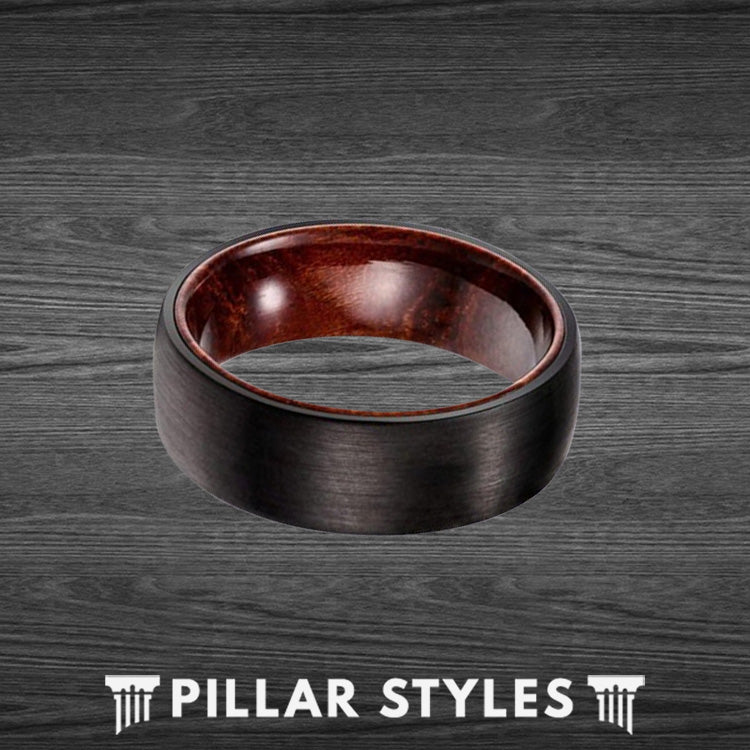 Black Tungsten Ring with Rose Wood Inlay - Pillar Styles