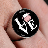 Cow Love Stainless Steel Ring - Pillar Styles