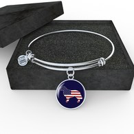 Golden Retriever USA Flag Necklace and Bangle - Pillar Styles