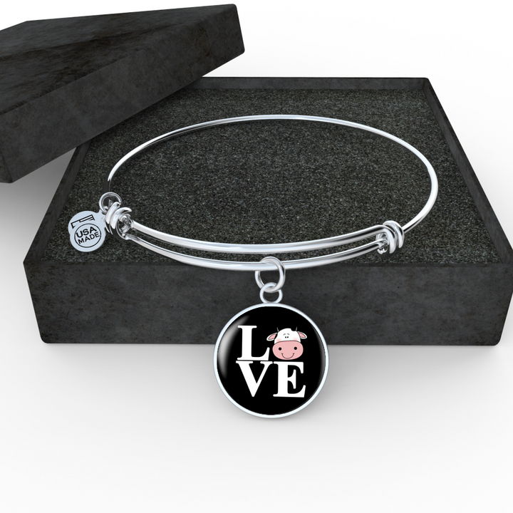 Cow Love Steel Bangle Bracelet - Pillar Styles