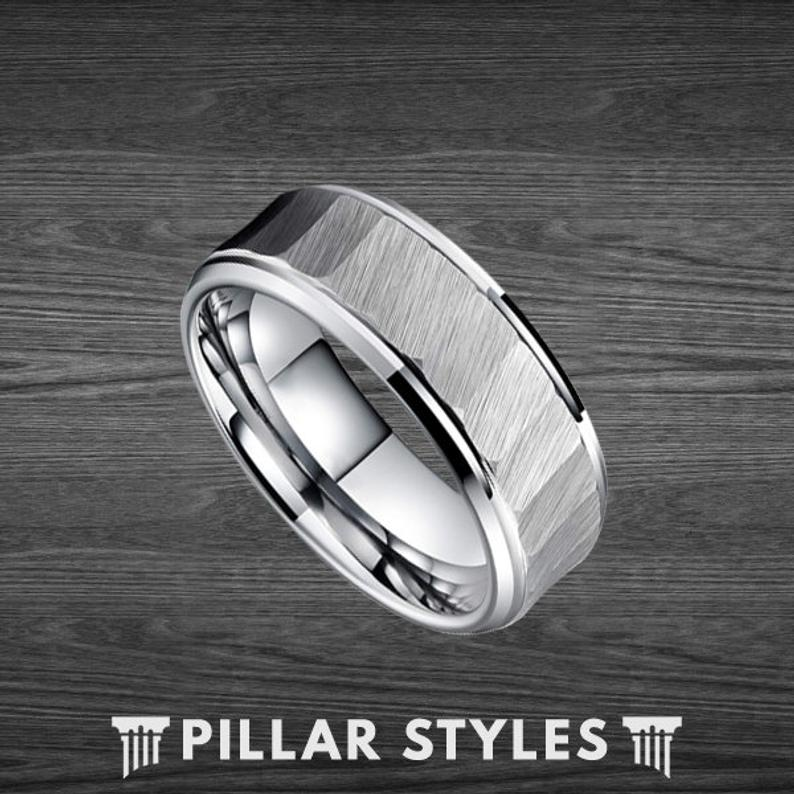 Tungsten Ring Mens Wedding Band Silver Hammered Ring - Pillar Styles
