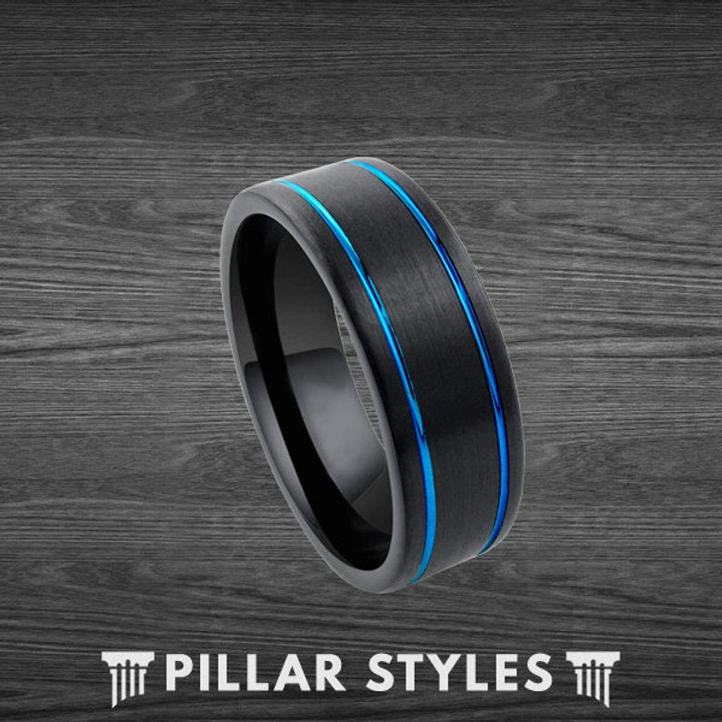 Black Tungsten Ring Mens Wedding Band with Blue Grooves - Thin Blue Line Ring - Pillar Styles