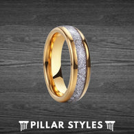 6mm Gold Meteorite Ring Tungsten Wedding Band Mens Ring - Pillar Styles