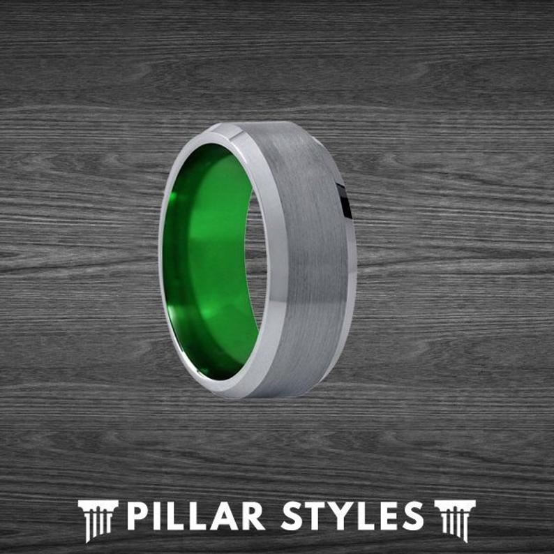 Gunmetal Gray Ring Tungsten Wedding Band Green Mens Ring with Polished Beveled Edges - Pillar Styles