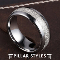 Tungsten Meteorite Ring Mens Wedding Band Couples Ring Set - Pillar Styles